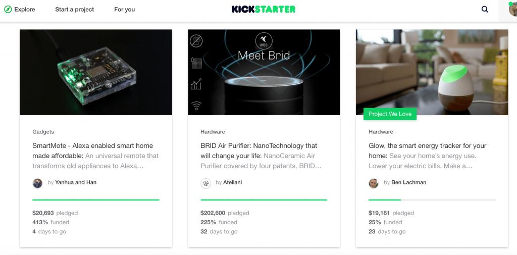 kickstarterのウェブサイト