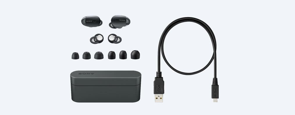 sonyの完全独立型ワイヤレスイヤホンWF-1000X」の付属品