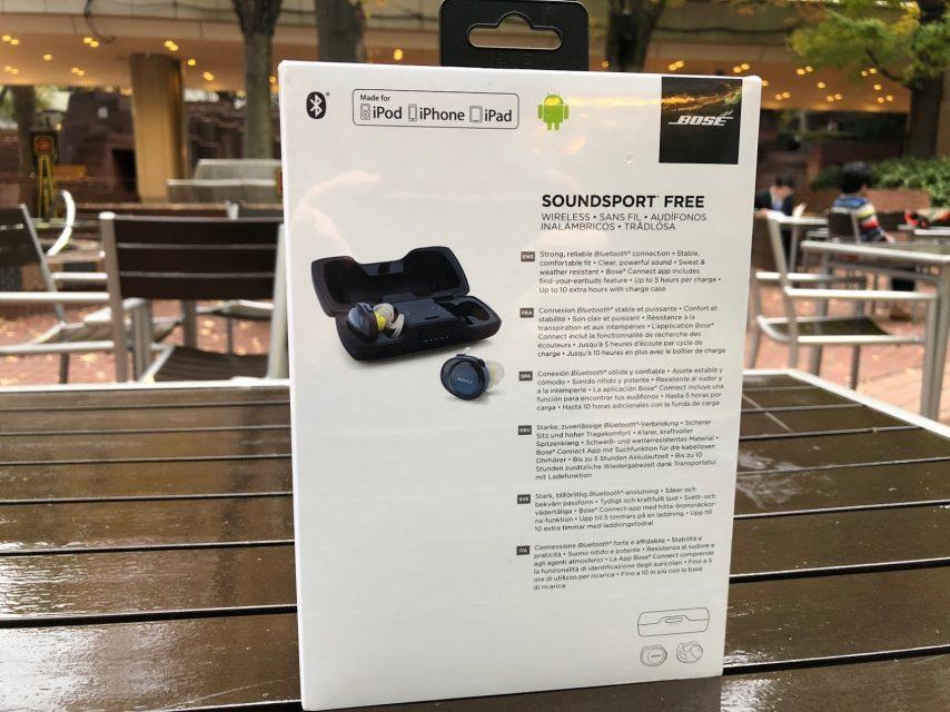 商品の詳細 Bose SoundSport Free wireless headphones 完全ワイヤレスイヤホン ミッドナイトブルー/イエローシトロンの箱の裏側