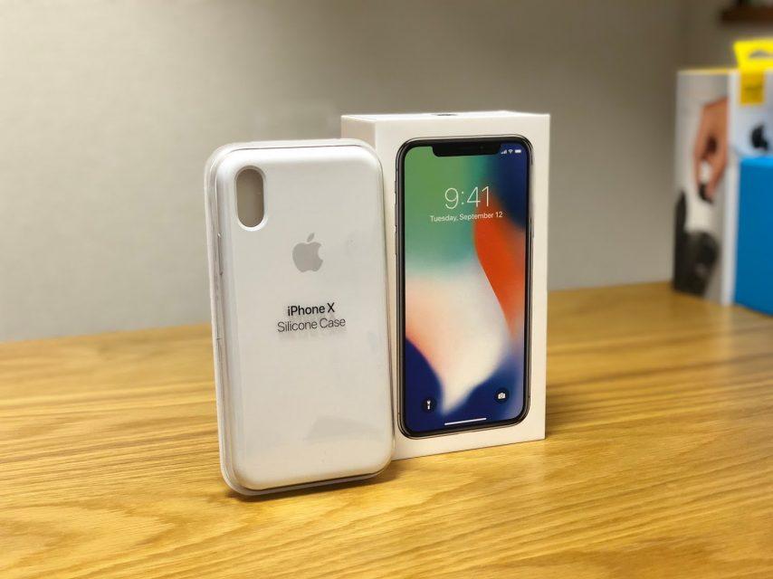 iphoneXのapple純正シリコンケース、ホワイトケースと箱