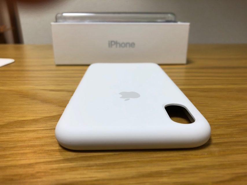 iphoneXのapple純正シリコンケースのホワイトの上側