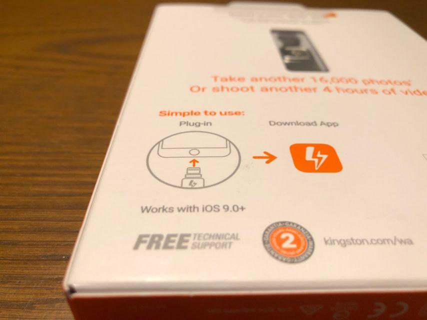 iphoneの容量を増やせるkingstonのDataTraveler Bolt Duoの化粧箱の裏側のアプリ説明