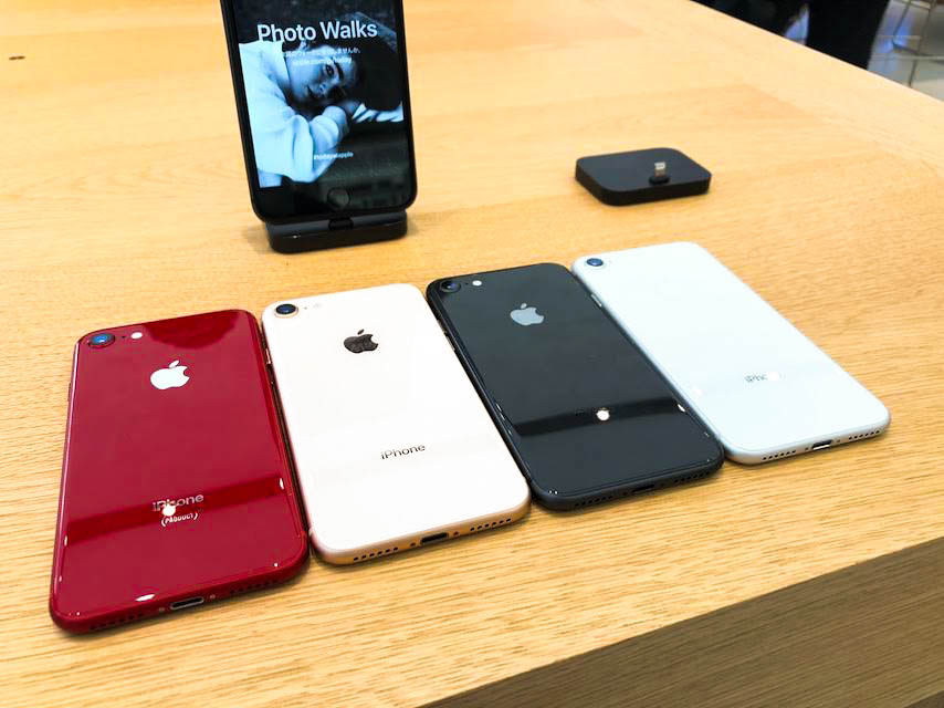 appleストア新宿のiPhone8の全色カラー比較