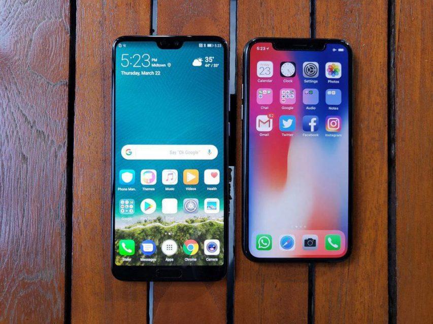 huaweip20とiphoneXのノッチデザイン比較