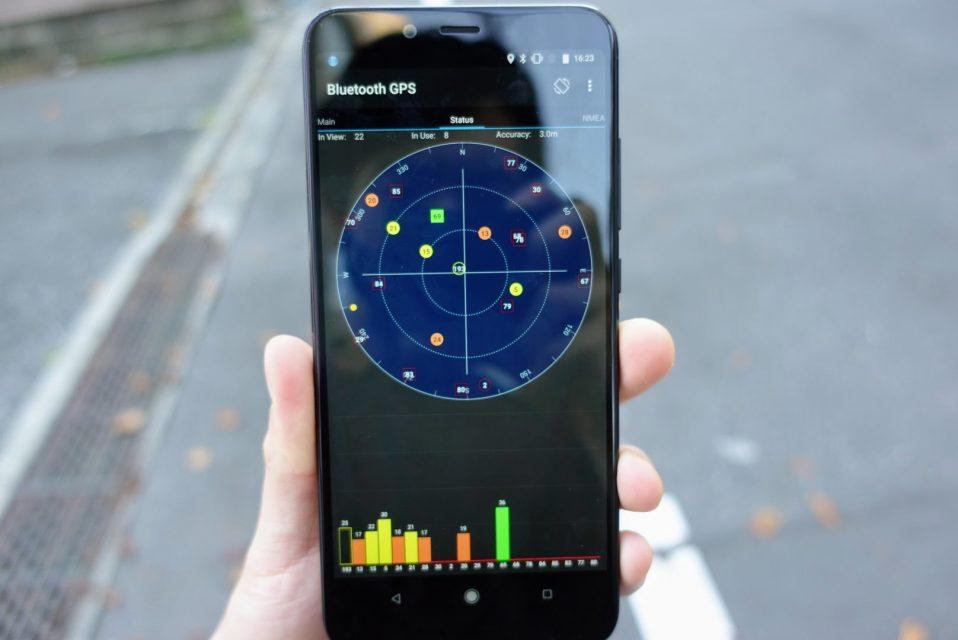 アプリBluetooth GPSのコンパス使用画面